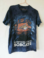 Montana State Bobcats T-Shirt S University Basketball Tie Dye Blue Grunge Sports
