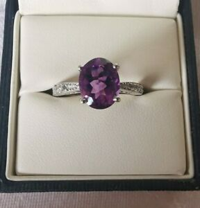 Gemporia Sterling Silver Amethyst and Topaz Ring, Size N