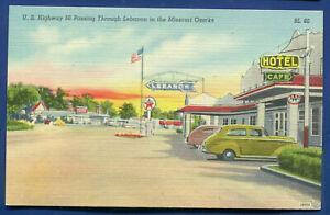 US Route 66 passing thru Lebanon Missouri Ozarks Texaco gas station postcard