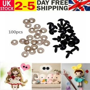 100x Black Plastic Safety Eyes For Teddy Bear Doll Animal Soft Toys Making Tool