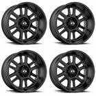 Set 4 22 Vision 419 Split Black Wheels 22x12 6x5.5 -51mm Lifted Chevy Gmc 6 Lug