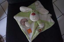 9/ doudou plat lapin chien vert blanc KIABI