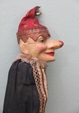 *Rarest* Antique German Papier-Mache Jester Red Christmas Bells Marotte! c1890!