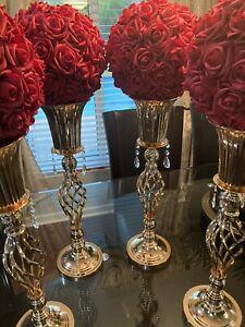 Flower Rack for Wedding Metal Candle Stand 9pc Set Gold Centerpiece Flower Vase