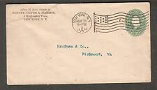 1898 cover Washington Place New York Station C flag cancel 1 to Richmond VA
