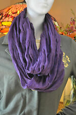 Polo Ralph Lauren Womens Italy Gauze Crinkle Linen Cotton Purple Scarf