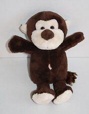 "Brown MONKEY 9"" Tan Face Plush Stuffed Animal ASI 62960 Belly Button String Tail"