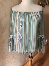 Allison New York Green Blue Striped Floral Off-Shoulder Top Blouse Size M