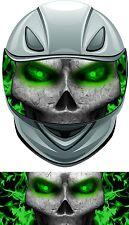 Skull flame fire green helmet visor wrap tint vinyl graphic decal style