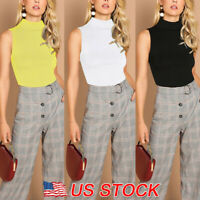 Womens Summer Sleeveless Casual Turtleneck Tank T-Shirt Blouse Stretch Slim Tops