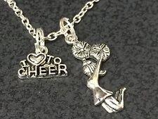 "Cheerleader Love to Cheer Charm Tibetan Silver 18"" Necklace BIN"