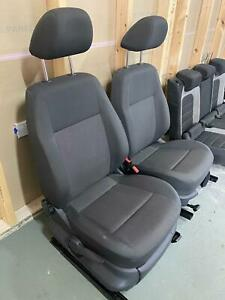 VW Caddy MK3 Driver and Passenger Seats with Headrests Black 2010-2015