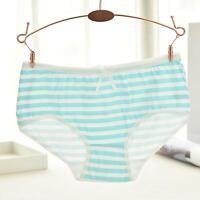Women Cute Underwear Stripes Bow Cotton Low Waist Briefs Comfortable Panties New