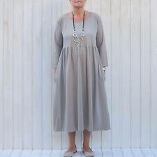 Womens LAGENLOOK Pleat Smock Dress Plus Size 16-28 2 POCKET Flared 7015
