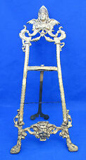 """Vintage Brass Figural Table Easel Plate Picture Stand Art Deco Look 18"""" AS IS"""