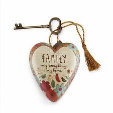 FAMILY MY EVERYTHING Art Heart Sculpture Ornament Key to My Heart New