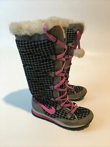 Nike Hi3 Winter Boots Tall Lace-Up Fur Top Black/Pink 333619-061 Size 7 Shoes