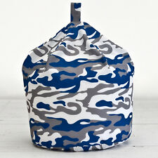 Camouflage Blue White Grey Kids Childrens Cotton Beanbag Bean Bag With Filling
