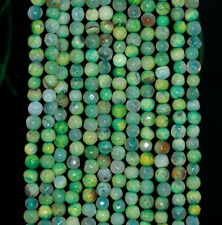 """4MM  AGATE GEMSTONE YELLOW GREEN FACETED ROUND LOOSE BEADS 15"""""""