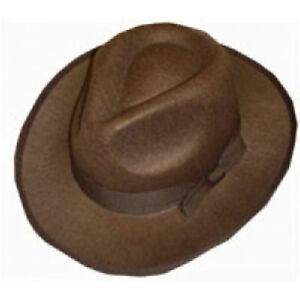 Adult Brown Explorer Fedora Hat Cowboy Western Wild Safari Fancy Dress Headwear