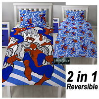 SPIDERMAN POPART SINGLE DUVET COVER SET KIDS REVERSIBLE  BEDDING OFFICIAL MARVEL