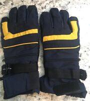 GLOVES Vtg Winter Ski Snow Blue & Yellow w/ Zippered Pockets Boy's SIZE 8/10