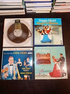 """Lot of 4 boxed' 7"""" reel to reel tapes Pre-Recorded Cha Chas, Waltzes Etc"""