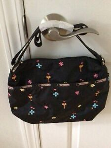 New LeSportsac Crossbody Shoulder Bag Purse Black Embroidered Flower Medium Size