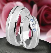 2 Silber 925 Trauringe mit echten Blautopas und echten Diamant & Gravur  J18-3BD