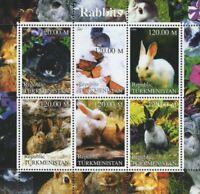 Turkmenistan Rabbits Plants Flowers Sheet of 6 Stamps Mint NH