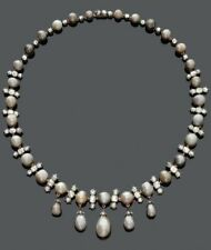 Real 925 Sterling Silver Baroque Pearl Necklace White Round CZ Handmade- Royale`