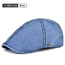 Vintage Ivy Hat Mens Solid Cotton Gatsby Cap Beret Cabbie Newsboy Navy L/XL