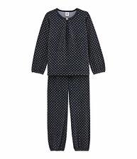 PETIT BATEAU Mädchen Nicki Pyjama allover Punkte blau gold glitzer 4-12 Jahre