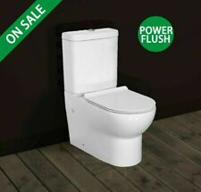 IMPROVED Closed Coupled Toilet Flush To Wall WC Bathroom Modern Soft Close Seat