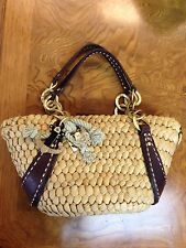 JUICY COUTURE Husk Woven Brown Straw Leather Shoulder Tote Purse Nautical Bag