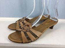 Cole haan brown leather slide sandals kitten heel career cocktail excellent 10.5