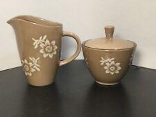 Nautica - Island Flower - Creamer & Sugar Bowl w/ Lid - Tan w/ White Flowers