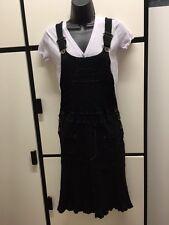 Tsumori Chisato Dress Black Cotton Overall Dungaree Linear Pleats Japan 2