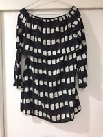Stevie May Black Mirage Spotted Patterned Sheath dress Stretch Size S EUC