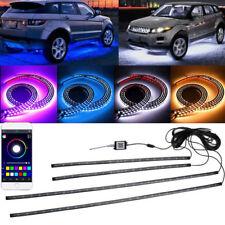 4Pcs Car RGB LED Pickup Tube Strip Under Glow Body Neon Light Phone App Control
