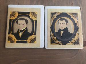 Vintage Pair Folk Art Watercolor Portraits 1800's Early Look PA Artist