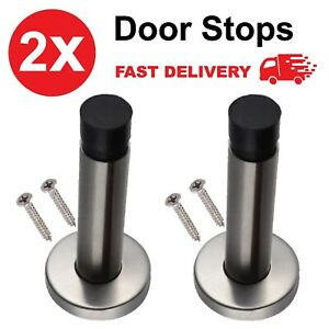 2x Door Stop Projecting Steel Metal Wall Mounted Doorstop Rubber Buffer Stopper