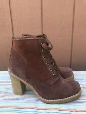 EUC UGG AUSTRALIA SOFIA CINAMON LEATHER WOMEN US 5 EUR 36 LACE-UP BOOTS 3213