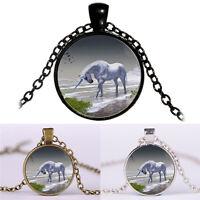 Licorne temps chevaux cabochon pendentif en verre collier