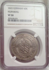 1622 GERMANY Nurnberg Silver Crown 60 Kreuzer NGC Slabbed VF30 ->FINEST KNOWN<-