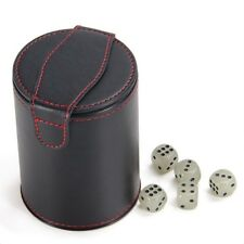 Bidear Leather Dice Cup Shaker With Lid, Light Green 5 Dice Set For Most Dice