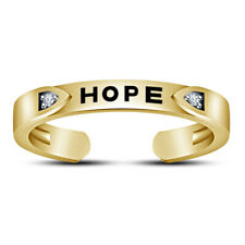 10k Yellow Gold Fn Diamond Round Cut Hope Band Adjustable Toe Ring For Women's
