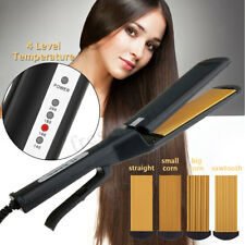 Pro 4 in 1 Replaceable Ceramic Curling Flat Iron Hair Crimper Straightener Waver