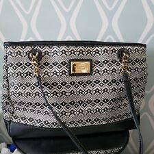 Tignanello Black & White Print Leather Shoulder Bag Handbag Purse