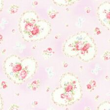 Cottage Shabby Chic Lecien Princess Rose Hearts Fabric 31266L-110 Lavender BTY